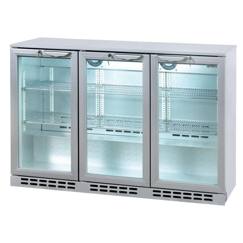 Arrière bar réfrigéré horizontal à 3 portes vitrées battantes coloris silver (photo)
