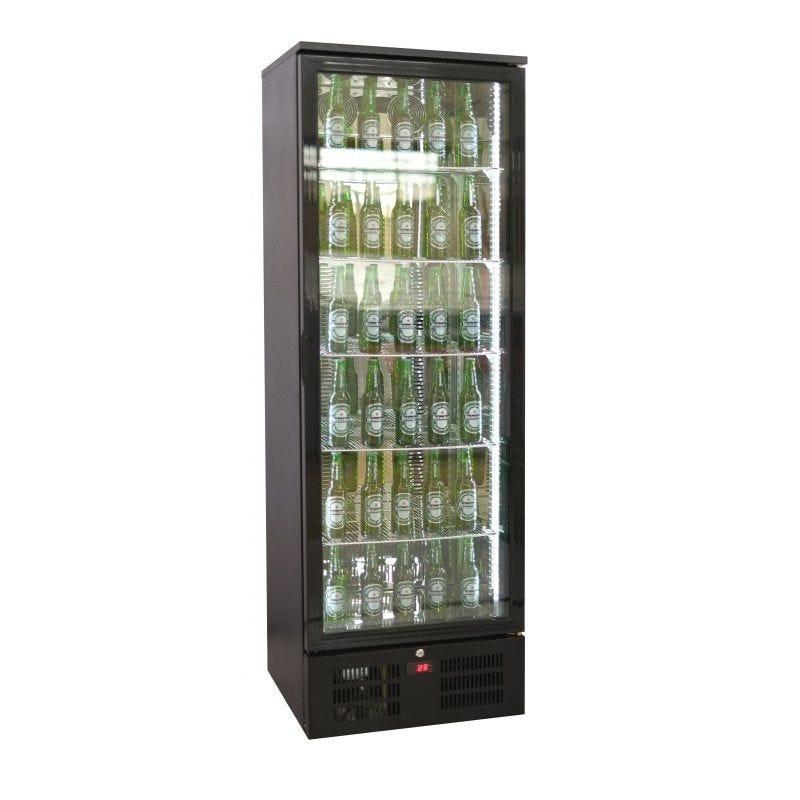Arrière bar réfrigéré vertical à 1 porte vitrée battante coloris noir (photo)