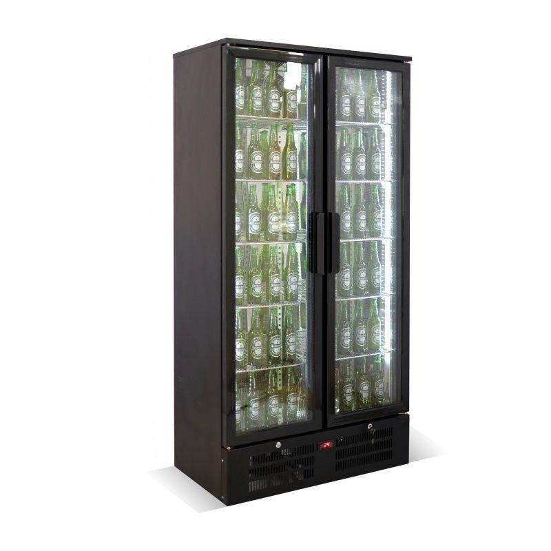 Arrière bar réfrigéré vertical à 2 portes vitrées battantes coloris noir (photo)