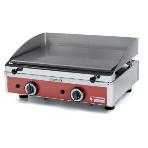 Plancha à gaz avec plaque lisse 2 zones de cuisson indépendantes