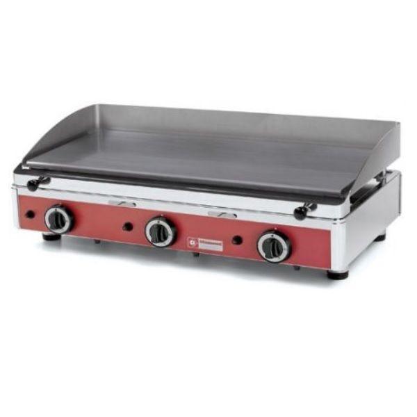 Plancha à gaz avec plaque lisse 3 zones de cuisson indépendantes