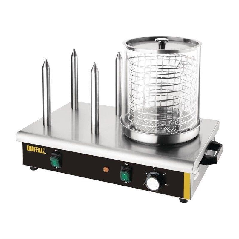 Chauffe saucisses en verre pyrex à deux compartiments avec 3 plots chauffe pain