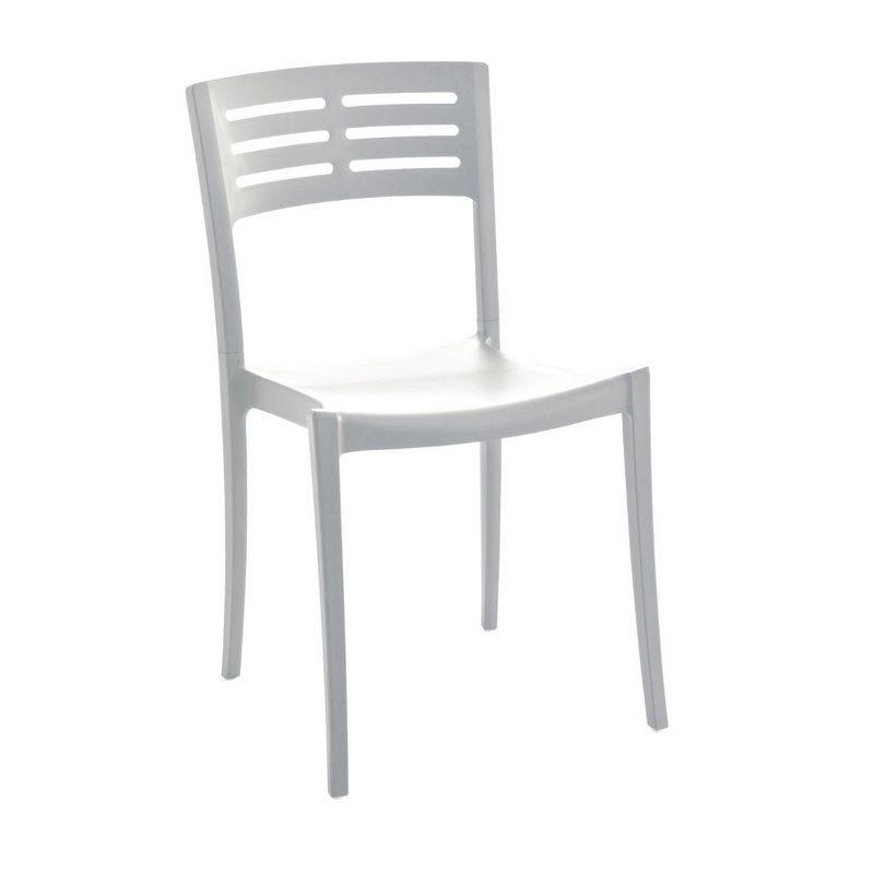 Chaise en polypropylène effet métal coloris blanc grosfillex - par 12 (photo)