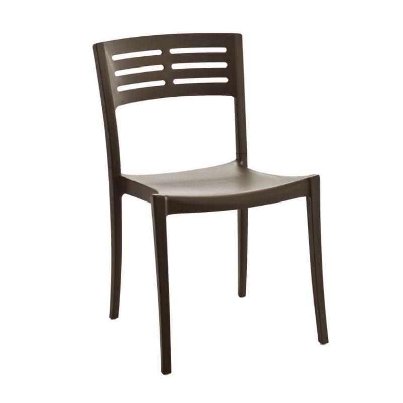 Chaise en polypropylène effet métal coloris café grosfillex - par 12 (photo)