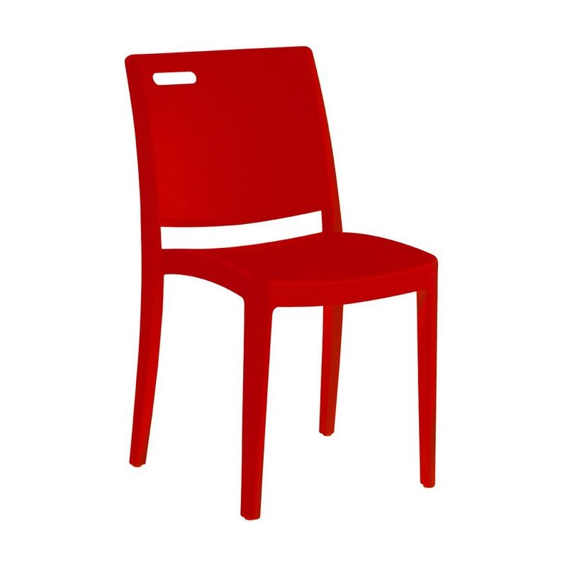 Chaise en polypropylène coloris rouge grosfillex - par 21 (photo)