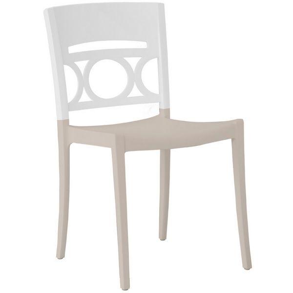 Chaise bicolore lin & blanc renforcé en fibres de verre grosfillex - par 11 (photo)