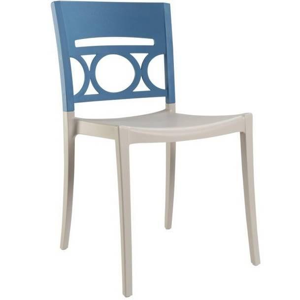 Chaise bicolore lin & bleu renforcé en fibres de verre grosfillex - par 11 (photo)