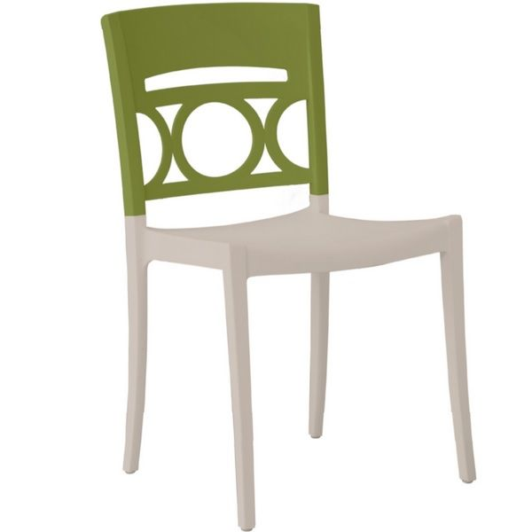 Chaise bicolore lin & vert renforcé en fibres de verre grosfillex - par 11 (photo)