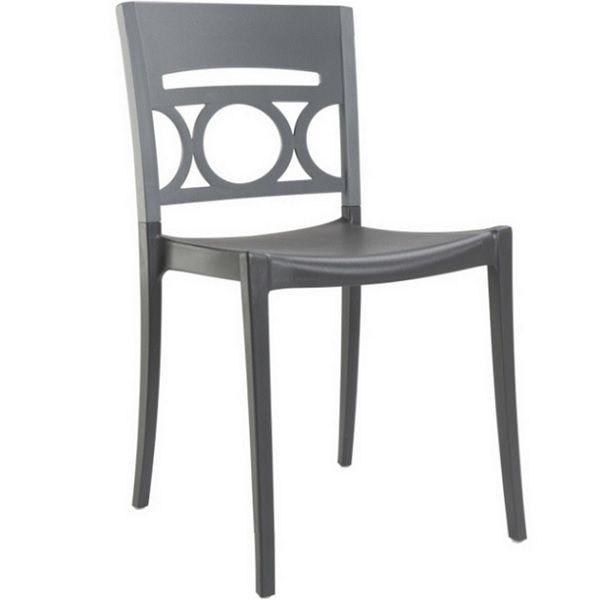 Chaise bicolore gris renforcé en fibres de verre grosfillex - par 11 (photo)