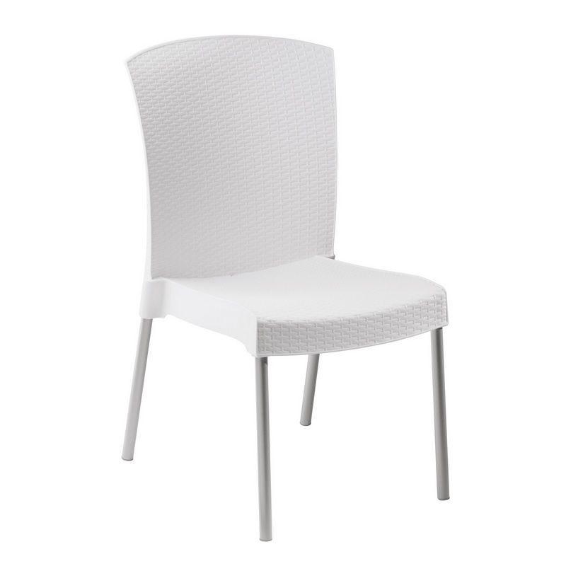 Chaise coloris blanc pieds en aluminium grosfillex - par 16 (photo)