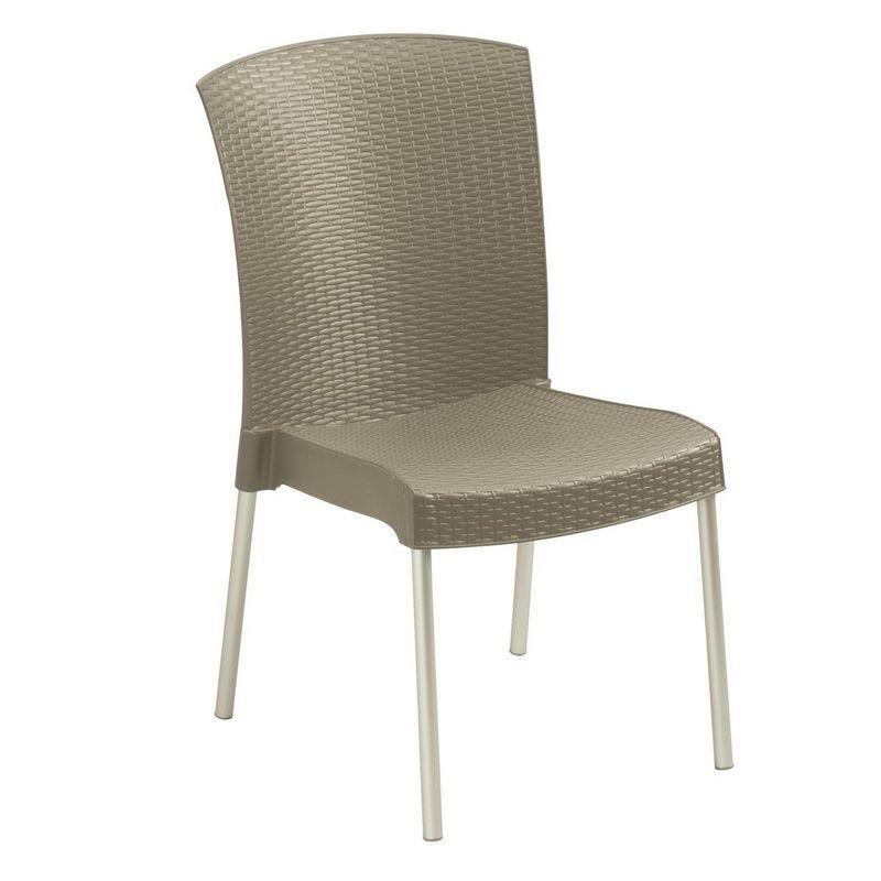 Chaise coloris taupe pieds en aluminium grosfillex - par 16 (photo)