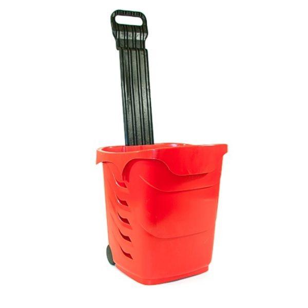 Panier à roulettes d'une capacité de 38 litres coloris rouge - par 5 (photo)