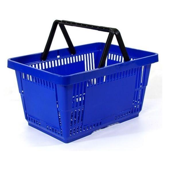 Panier à deux anses d'une capacité de 28 litres coloris bleu - par 5 (photo)
