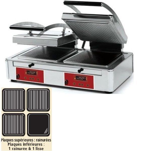 Grill à panini double plaque «duplex technology> rainurée / rainurée et lisse (photo)