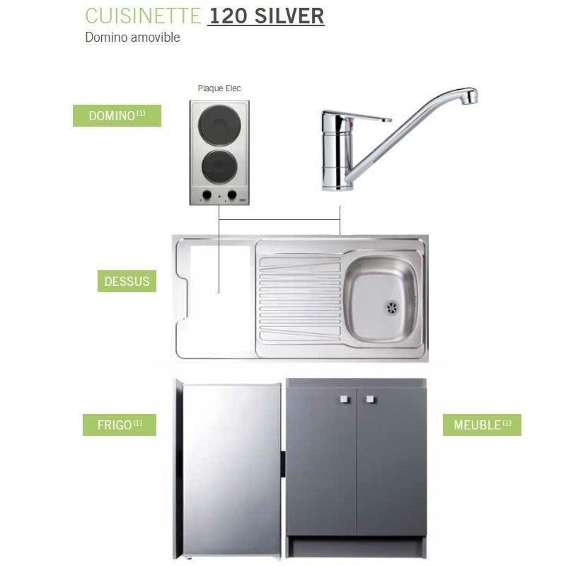 Kitchenette complète de longueur 1200 mm avec plaque de cuisson électrique