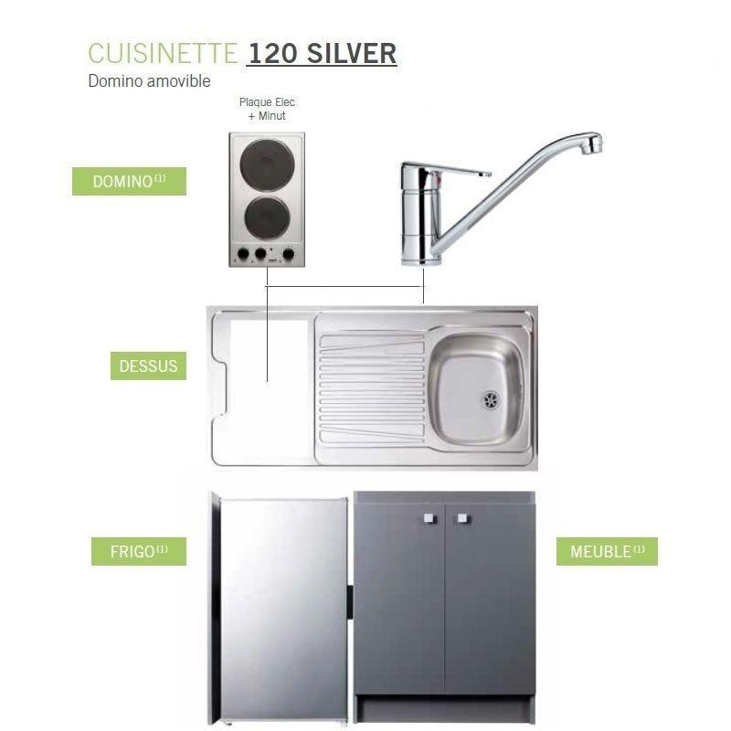 Kitchenette complète de longueur 1200 mm avec plaque électrique et minuteur