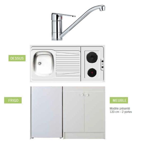 Kitchenette de longueur 1m20 (placard mini frigo plaque de chauffe et robinet)