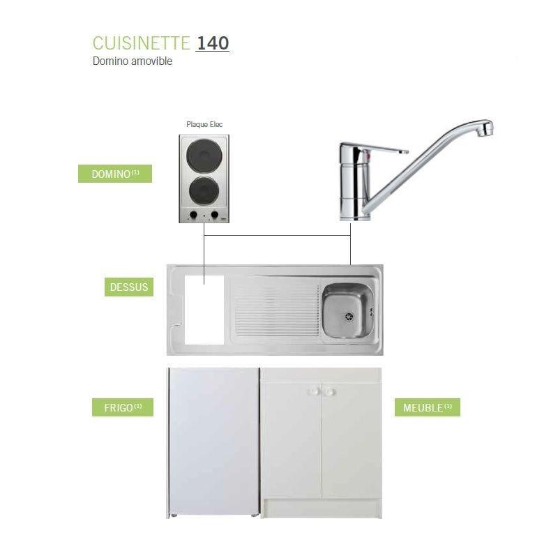 Kitchenette complète de longueur 1400 mm avec plaque de cuisson électrique