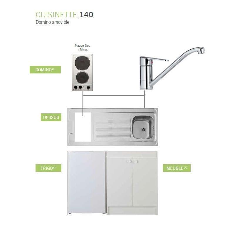 Kitchenette complète de longueur 1400 mm avec plaque électrique et minuteur