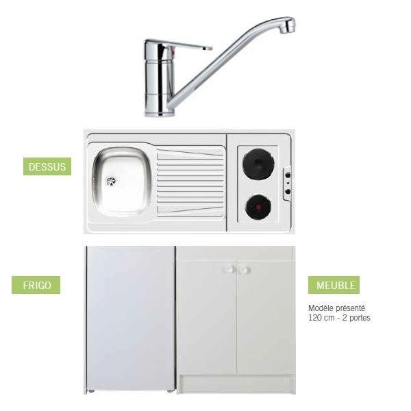 Kitchenette de longueur 1m40 (placard mini frigo plaque de chauffe et robinet)