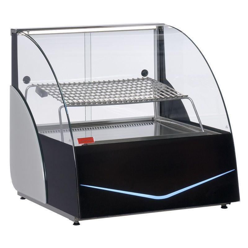 Vitrine de présentation réfrigérée à poser vitrage bombée avec grille inclinée (photo)