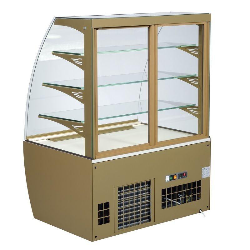 Vitrine réfrigérée de comptoir avec portes coulissantes à l'arrière vitre bombée