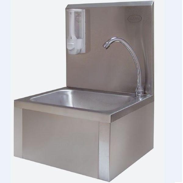 Lave-mains inox avec dosseret sans distributeur de savon