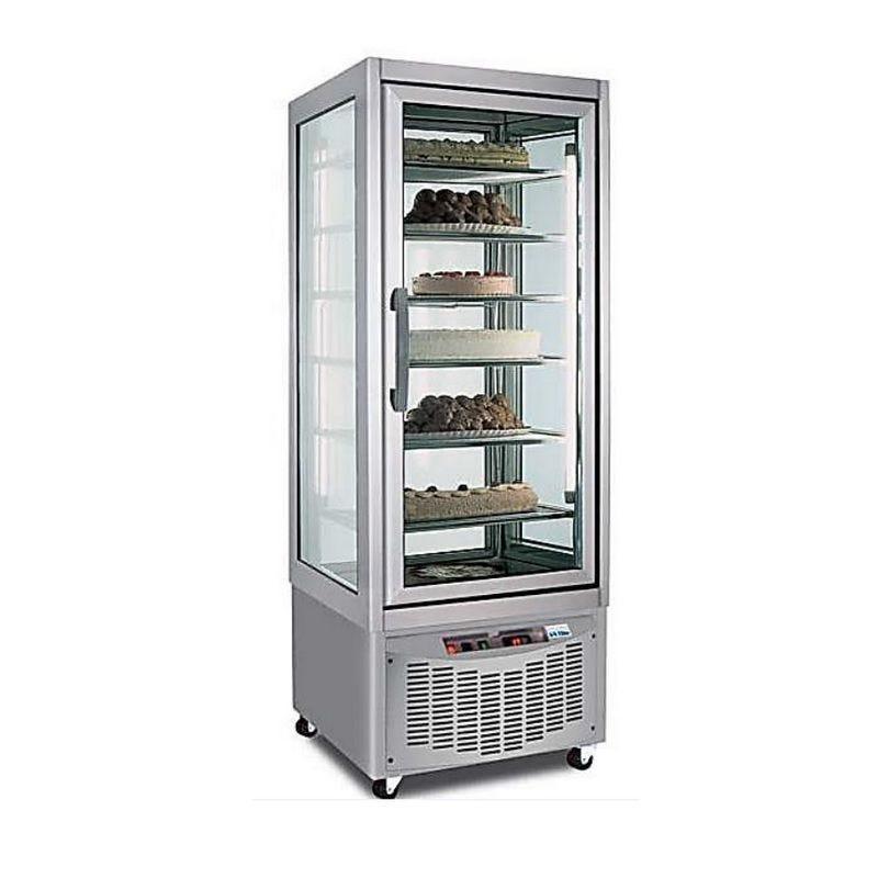 Vitrine de présentation pâtissière négative 420 litres 1 porte à 4 faces vitrées (photo)