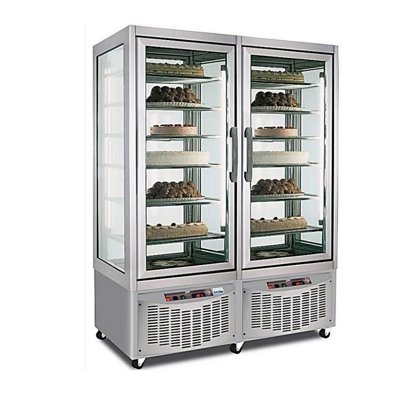 Vitrine réfrigérée pâtissière négative de 840 litres 2 portes à 4 faces vitrées (photo)