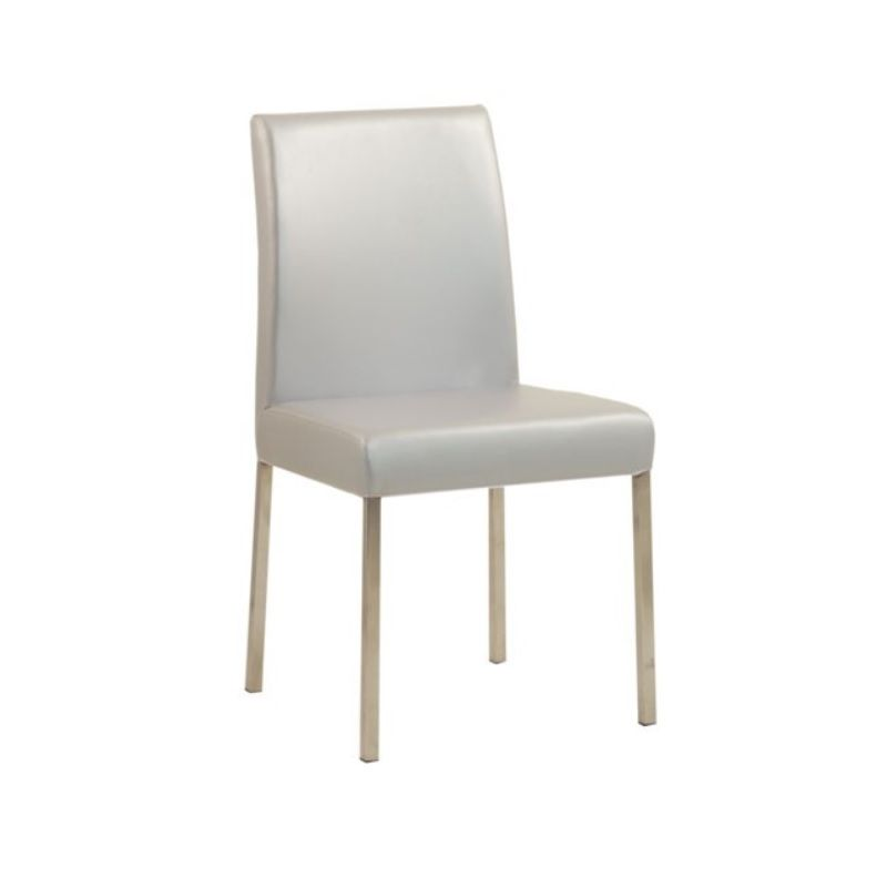 Chaise design de restaurant en acier assise et dossier rembourrés gris argent (photo)