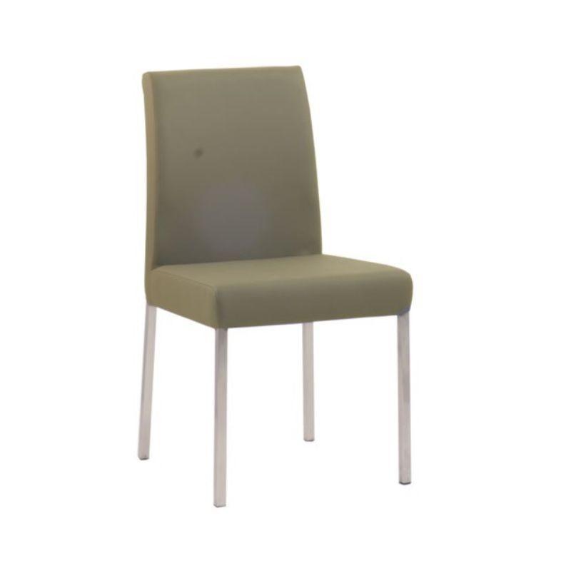 Chaise design de restaurant en acier assise et dossier rembourrés taupe (photo)