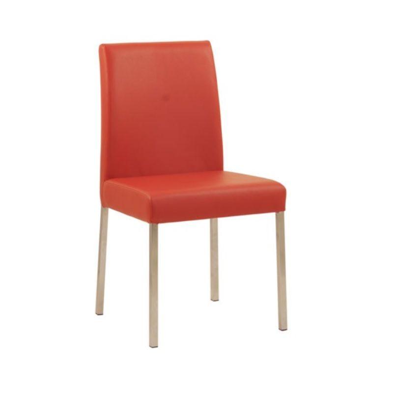 Chaise design de restaurant en acier assise et dossier rembourrés rouge (photo)
