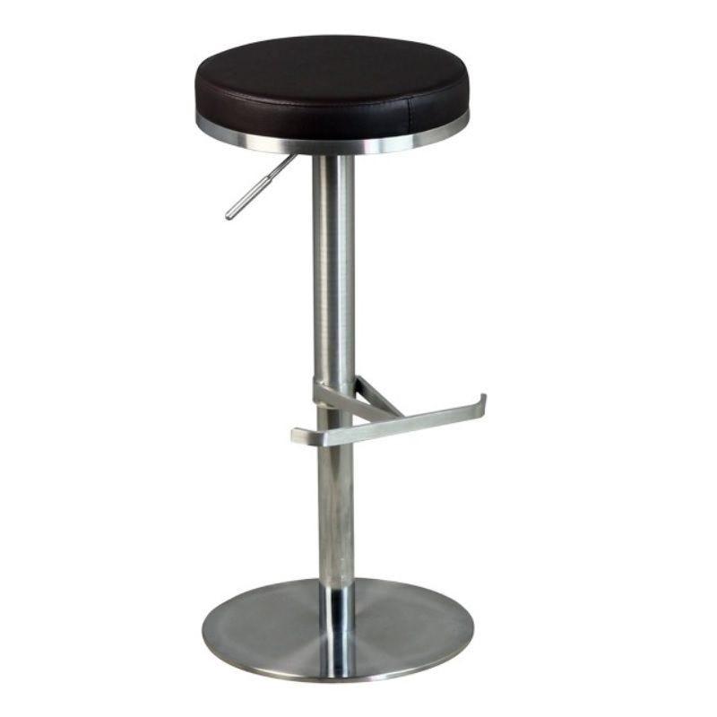 Tabouret de bar avec assise ronde marron hauteur réglable avec repose pied (photo)