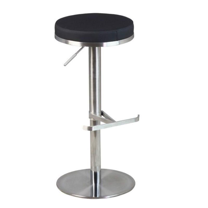 Tabouret de bar avec assise ronde noire hauteur réglable avec repose pied (photo)