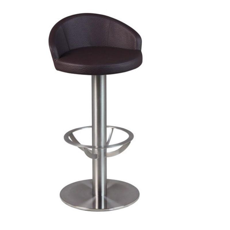 Tabouret de bar avec siège et dossier simili cuir à hauteur fixe coloris marron (photo)