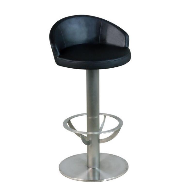 Tabouret de bar avec siège et dossier simili cuir à hauteur fixe coloris noir (photo)