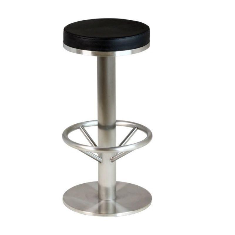 Tabouret de bar à assise ronde simili cuir noir avec hauteur fixe et repose pied (photo)