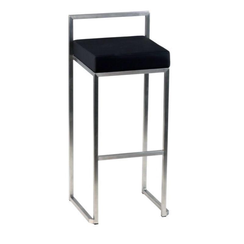 Chaise de bar structure en acier inox à hauteur fixe assise carrée noire (photo)