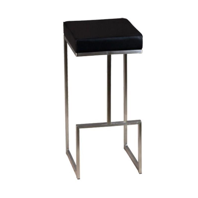 Chaise de bar fixe en inox brossé avec assise carrée en simili cuir noir (photo)