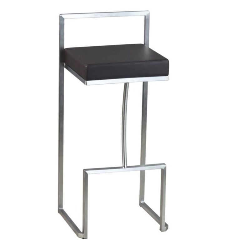 Chaise de bar haute avec dossier en inox et assise carrée en simili cuir marron (photo)