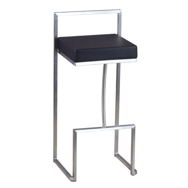 Chaise de bar haute avec dossier en inox et assise carrée en simili cuir noir (photo)