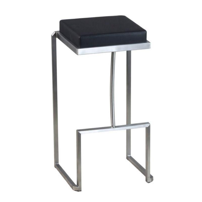 Tabouret de bar avec assise carrée noire en simili cuir et hauteur fixe (photo)