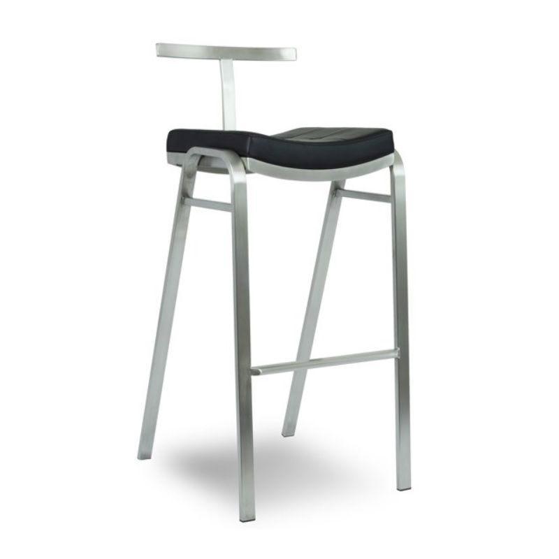 Chaise de bar haute fixe design à dossier en inox et assise en simili cuir noir (photo)