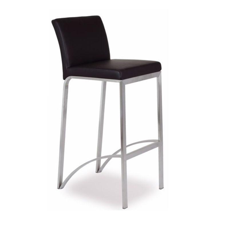 Chaise haute de bar avec 4 pieds assise et dossier rembourré simili cuir marron (photo)