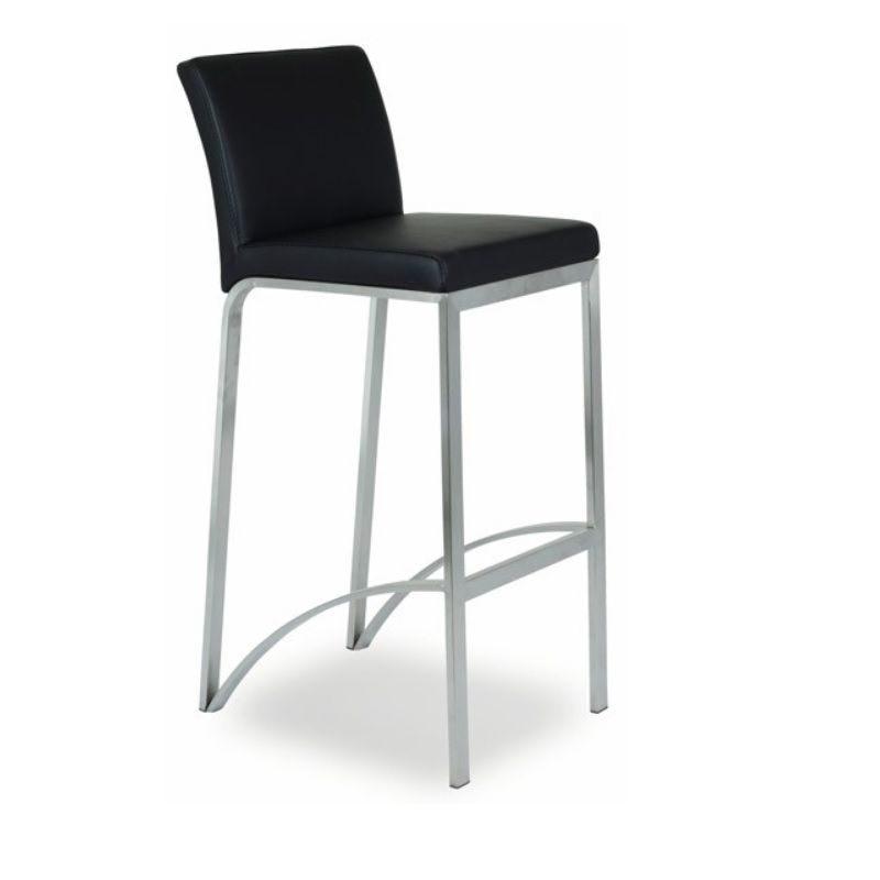 Chaise haute de bar avec 4 pieds assise et dossier rembourré simili cuir noir (photo)