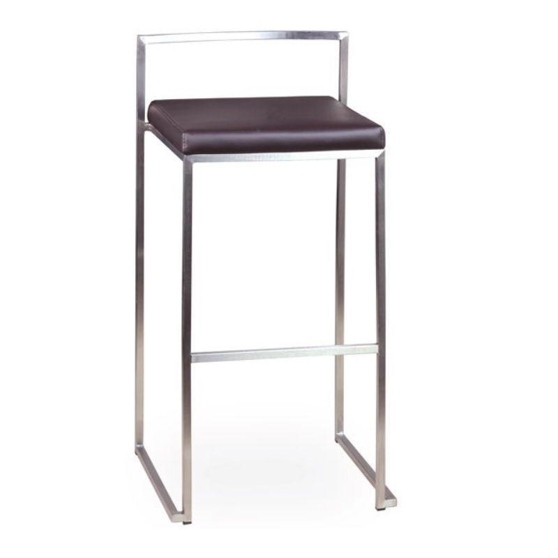 Chaise haute de bar en inox brossé à hauteur fixe assise simili cuir marron (photo)