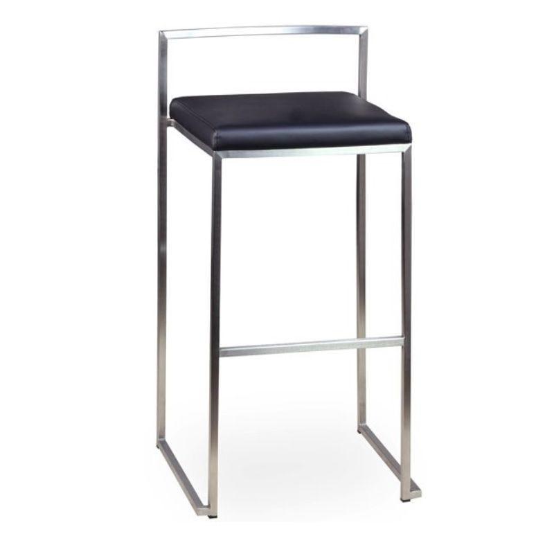Chaise haute de bar en inox brossé à hauteur fixe assise simili cuir noire (photo)