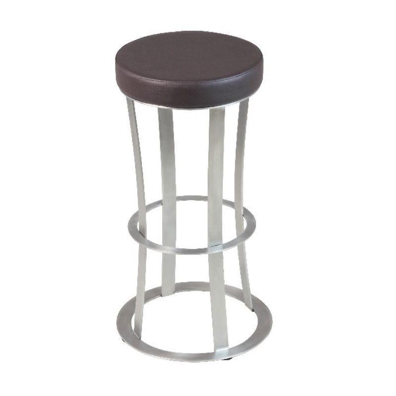 Tabouret de bar de forme ronde à hauteur fixe avec assise en simili cuir marron (photo)