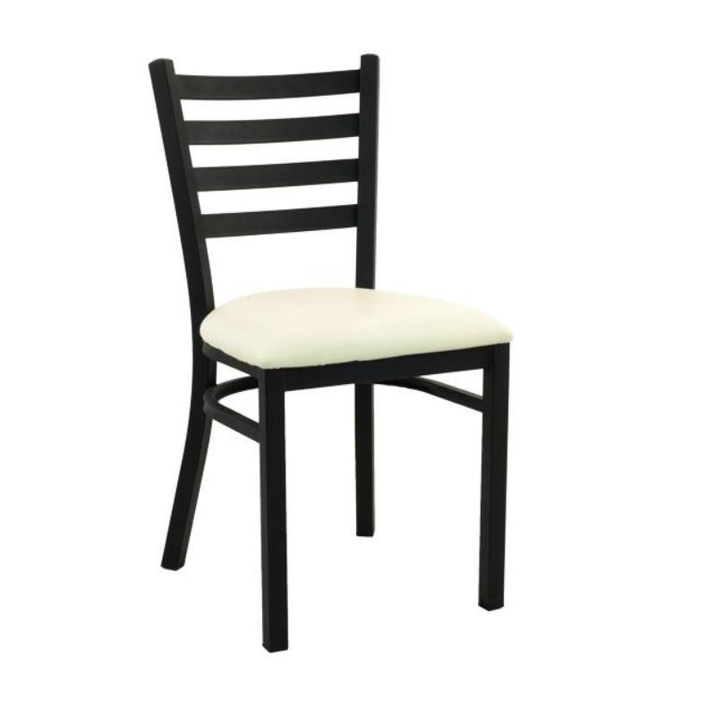 Chaise de bistrot en acier assise rembourré simili cuir coloris beige (photo)