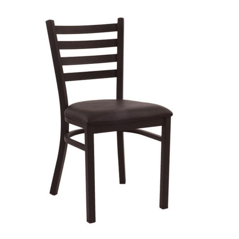 Chaise de bistrot en acier assise rembourré simili cuir coloris marron (photo)